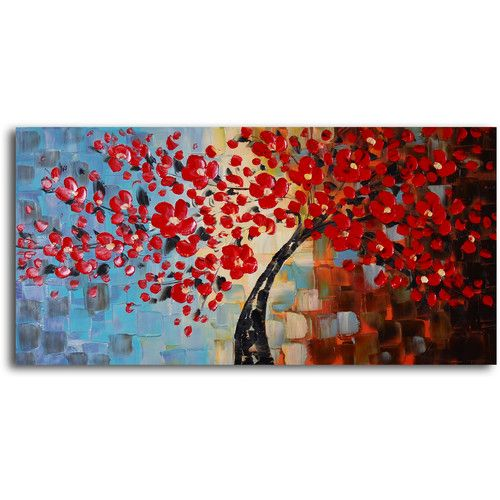 """""""Bouquet of Textured Red"""" Original Painting Canvas Art"""