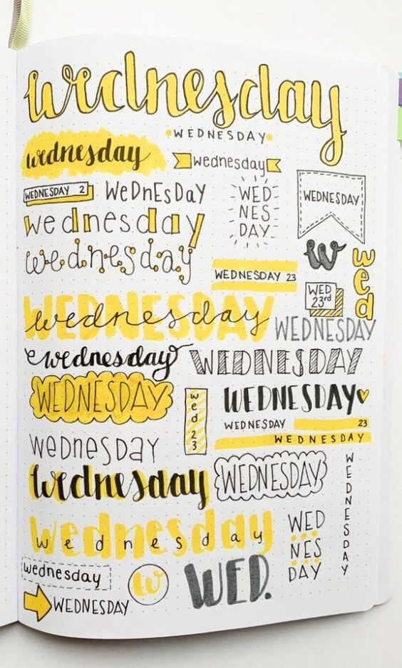 Want some inspiration for your bullet journal? Try out these super easy weekly headers in your next spread in your journal! Check out this post to find creative bullet journal weekly header ideas for every day of the week! #journals #bulletjournals #practicaljournalsandplanners