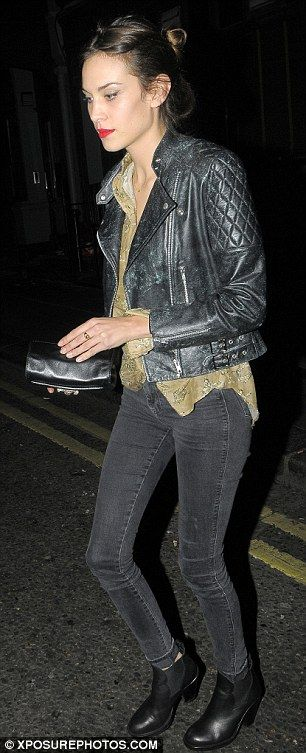'Just friends? Alexa Chung and Harry Styles leave the Groucho Club in the early hours of Tuesday morning ' Nooooooooooo! Why the pig nostrilled karaoke brat, Alexa,why? You usually go towards the cool.. why? why? why?  *sob*  Fingers crossed it ain't so..why would she go for a boy when she could have a man?  Hair pinned up nice here.