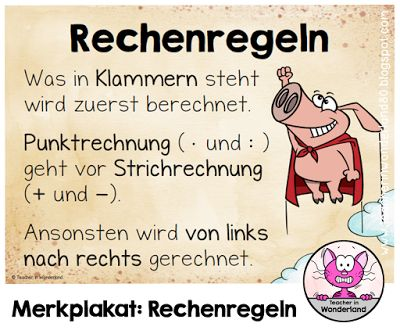Teacher In Wonderland: Merkplakat: Rechenregeln /Vorrangsregeln