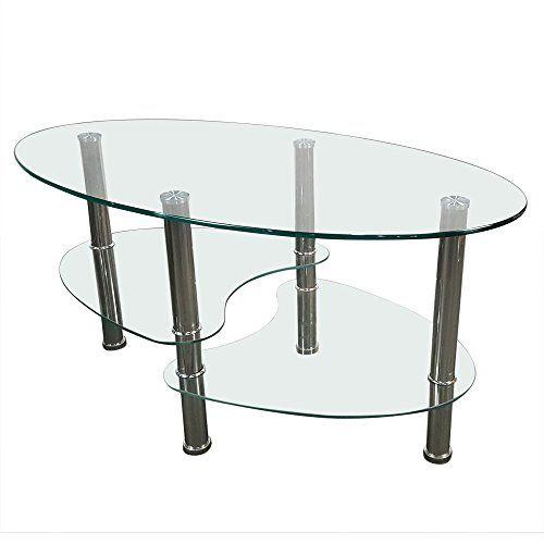 Tempered Glass Oval Side Coffee Table Shelf Chrome Base Living