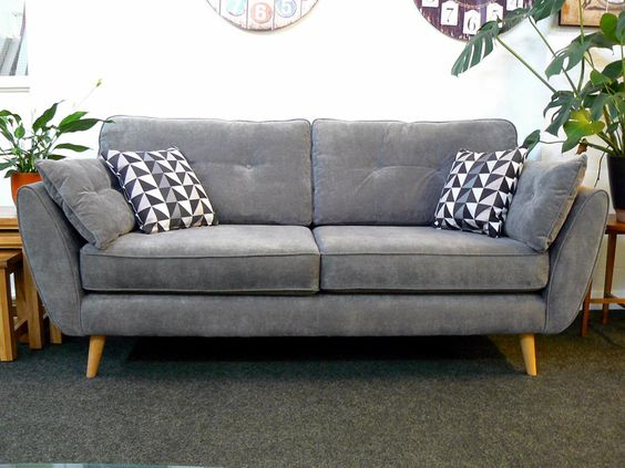 French Connection Zinc Sofa & Armchair In Grey Fabric - Free Delivery