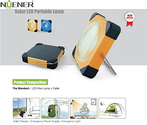 Nuener N1 Portable Solar Camping Lamp with Power Bank, Offer Emergency Power and Light Forever, Orange