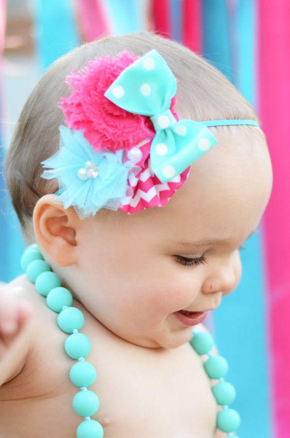 Turquoise Chevron Baby Girl Headbands Bow