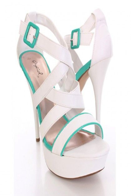 White Faux Leather Strappy Open Toe Platform Heels