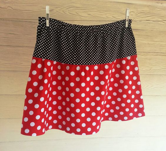 Plus size skirt, polka dot skirt, red white and black