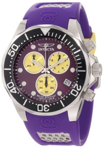 Invicta Men's 11475 Pro Diver Chronograph Purple Dial Purple Polyurethane Watch Invicta. $179.00. Purple dial with silver tone and white hands and hour markers; luminous; unidirectional stainless steel bezel with black top ring; screw-down crown and pushers. Water-resistant to 300 M (984 feet). Mineral crystal; stainless steel case; purple polyurethane strap with stainless steel accents. Swiss quartz movement. Chronograph functions with 60 second, 30 minute and 1/10th of a...
