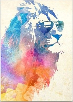 Watercolors, A lion and Be cool on Pinterest