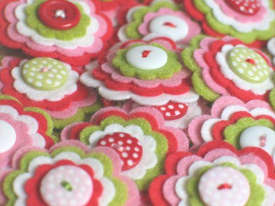 STRAWBERRY SHORTCAKE  - Set of 3 Handmade Felt Flower Embellishments in Pink, Red, Lime and White / Felt Applique. $3.75, via Etsy.