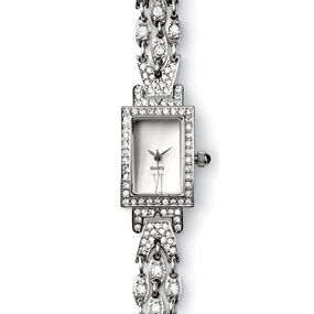Art Deco Evening Watch - The elegant craftsmanship on which our Art Deco Evening watch is based is from an English fire opal and diamond pendant made around 1930. This original piece reflects the forms of some of the best Art Deco designs.
