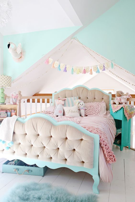 pink and aqua loft bedroom