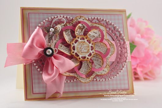 Life is better with friends card designed by Becca Feeken using Fleuriste Newsprint and Spring Rose Medallions