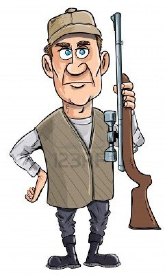 Cartoon hunter holding his gun. Isolated Stock Photo