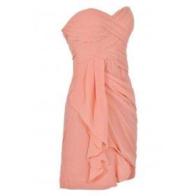 Peach Chiffon Drape Party Dress, Cute Peach Chiffon Bridesmaid Dress, Strapless Peach Chiffon Dress, Cute Peach Summer Dress