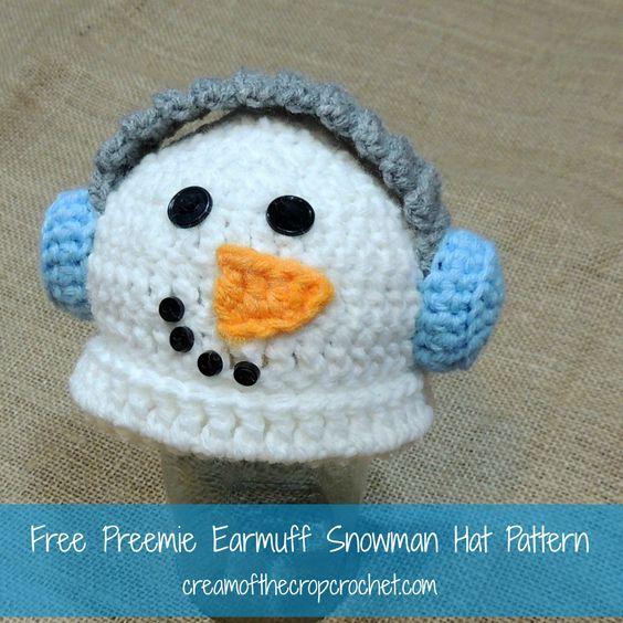 Free Crochet Earmuff Pattern : Cream Of The Crop Crochet ~ Preemie Earmuff Snowman Hat ...