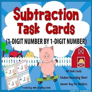 Subtraction Task Cards {Subtracting 1-Digit Number by 1-Digit Number} $