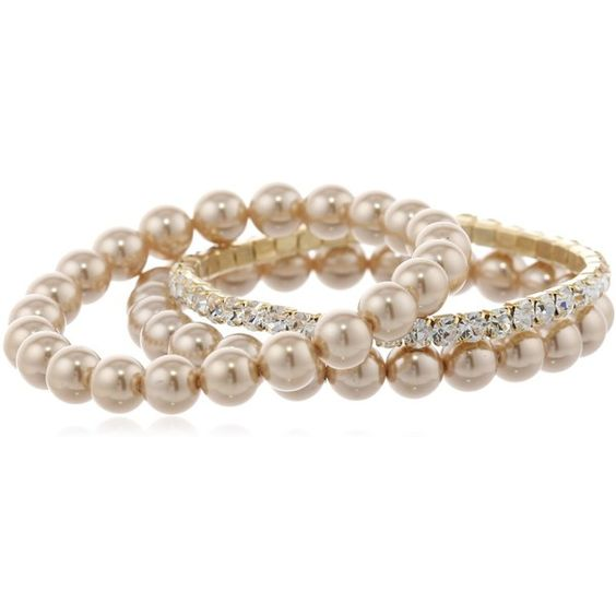 Amazon.com: Champagne Simulated Pearl and Crystal Stretch Bracelet... ❤ liked on Polyvore featuring jewelry, bracelets, accessories, jewels, pearl, champagne diamond bracelet, pandora bracelet, crystal jewelry, faux pearl bracelet and austrian crystal bracelet