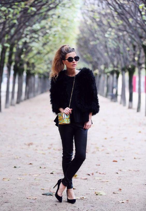 Own The Runway Black Feather Jacket, H&M Peplum Top, Jitrois Leather Leggings,Karen Millen Court Heels & Janvier London Bag
