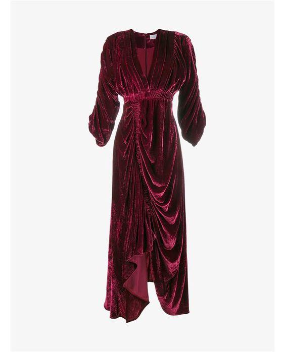 PREEN BY THORNTON BREGAZZI | Rebecca Ruched Velvet Dress