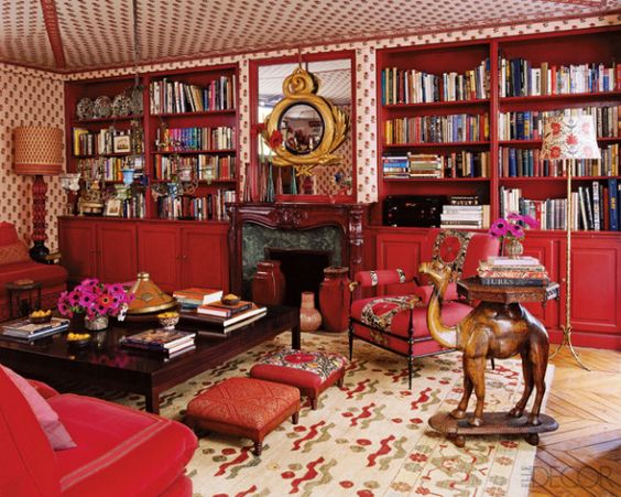 Cozy wallpapered library
