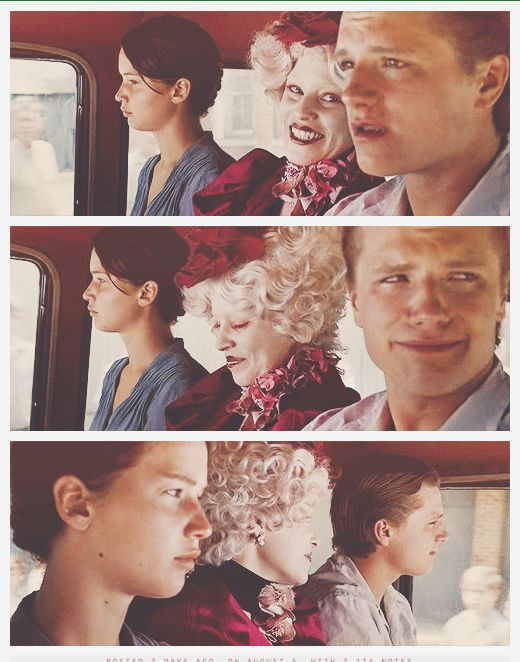 I love the contrast between Effie's face & Peeta's. I think it truly shows how horrible the hunger games is.