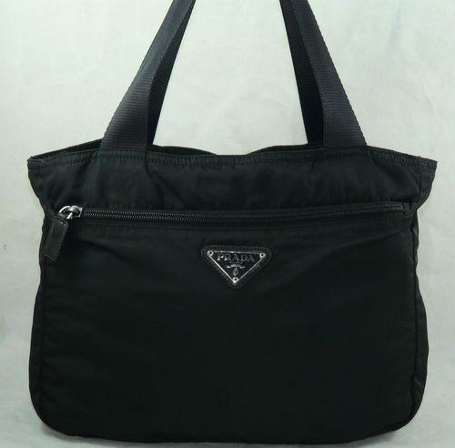 Por Nylon Bag Leather Handles Authentic Prada Tote Satchel Purse Handbag Shoulder
