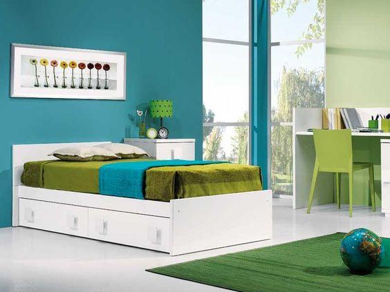 Combinacion amarillo azul rojo y verde buscar con google for Dormitorio azul turquesa