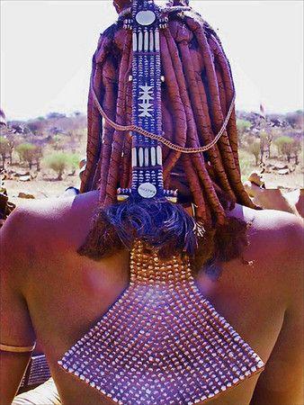 Africa |  Close up of the hair and neck adornment of a young Himba woman | © Christina ~ PrayingMantisPhotography