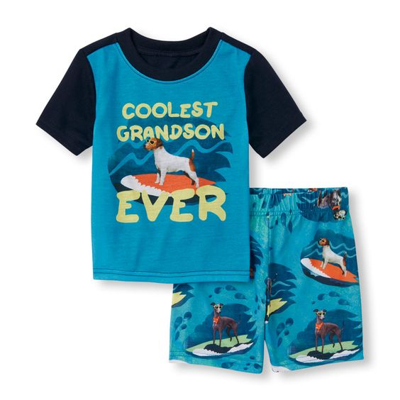 Baby And Toddler Boys Short Sleeve 'Coolest Grandson Ever' Surfing Dog Top And Surfing Dog Print Shorts PJ Set