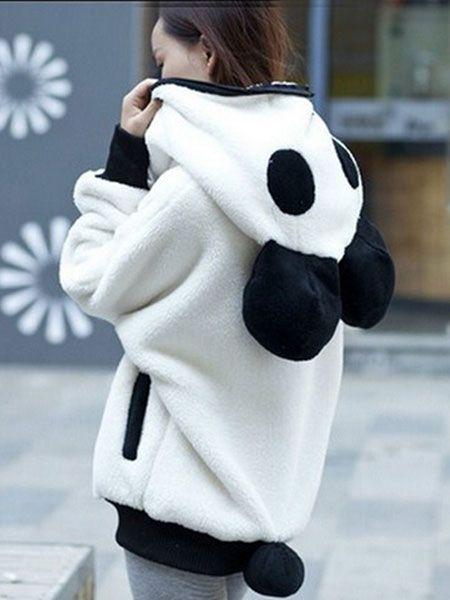 nice Women Warm Cartoon Fleece Hooded Coat Cute Pocket Zipper Hoodie