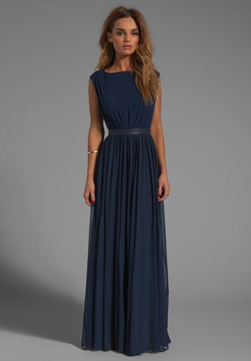 ALICE + OLIVIA Triss Sleeveless Maxi Dress with Leather Trim in Navy - Alice + Olivia. - The back is even cooler than the front!