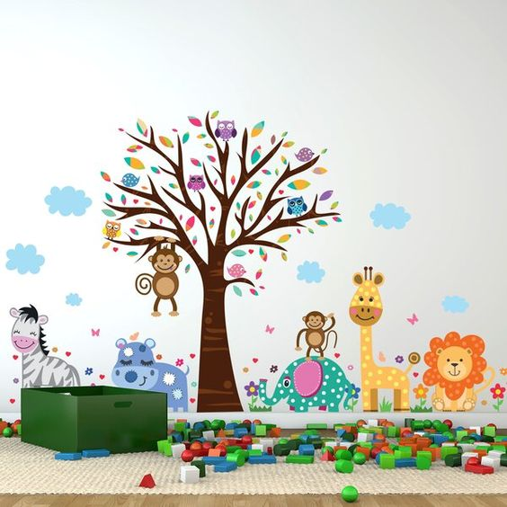 Happy London Zoo Wall Decal Wall Stickers Toddler Kids Wall Decals Wall Stickers Kids
