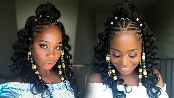 Image Result For Cornrows Style For Big Forehead Natural Hair Styles Hair Styles Braids With Beads
