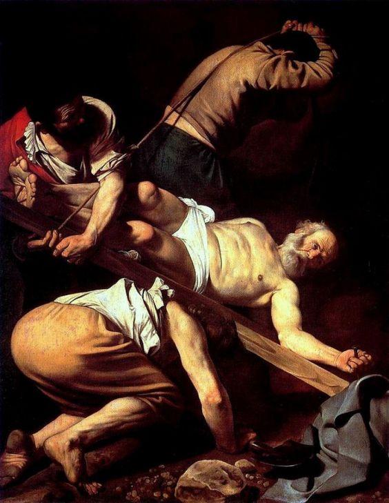Michelangelo Merisi da Caravaggio, De kruisiging van Petrus, ca. 1601, olieverf op doek, 230 x 175 cm, Santa Maria del Popolo, Rome