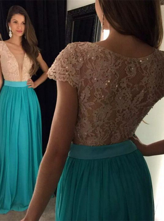 long prom dress, short sleeves Prom Dresses, 2016 formal Evening Gown, cheap prom dress,charming evening gown, PD16654: