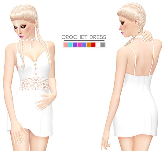 ♚ CROCHET DRESS ♚• 9 swatches • TOU/FAQ can be found on my page • list of CC I use in previews [ download ]