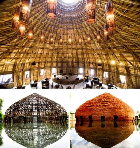 Water and Wind Cafe, Vietnam. Made almost entirely of bamboo without the use of a single nail, the Water and Wind Cafe in the Binh Duong province of Vietnam is just one example of incredible bamboo structures designed by architecture firm Vo Trong Nghia. The domed structure, dripping with lights, features a dazzling skylight, with the end result resembling a natural cathedral. The bamboo was woven together using traditional Vietnamese bamboo weaving techniques and covered in a local bush plant.:
