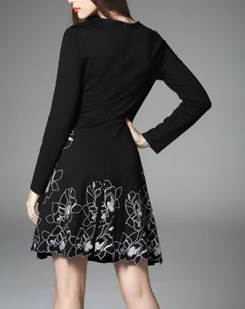Black Embroidery Asymmetrical A-line Dress