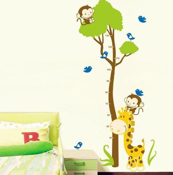 Vinilo decorativo de pared medidor infantil monos y rbol - Vinilo arbol infantil ...