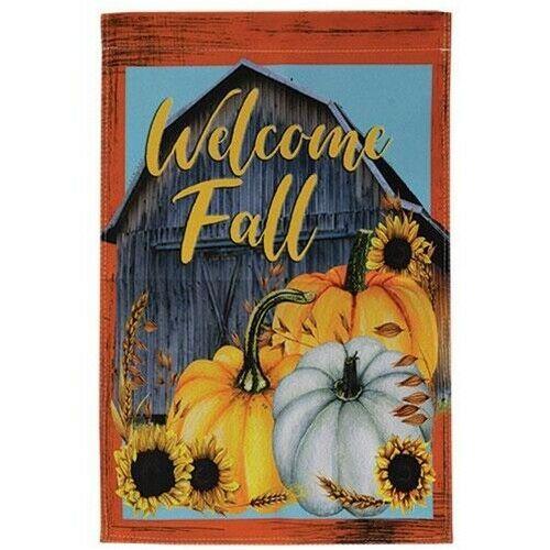 Welcome Fall Garden Size Flag Barn Pumpkins Double Sided Harvest Halloween Ebay In 2020 Fall Garden Flag Autumn Garden Welcome Fall