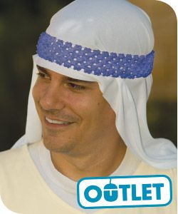 """Bible-Times Head Covering--The perfect """"topping"""" to your Hometown Nazareth costume. This biblical headpiece is made of white polyester. Includes blue elastic headband to hold it in place.#VBS2015 #NazarethVBS"""