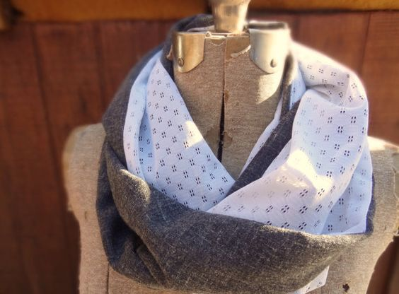 Grey & white infinity scarf with vintage fabrics by PaleDesign, $25.00