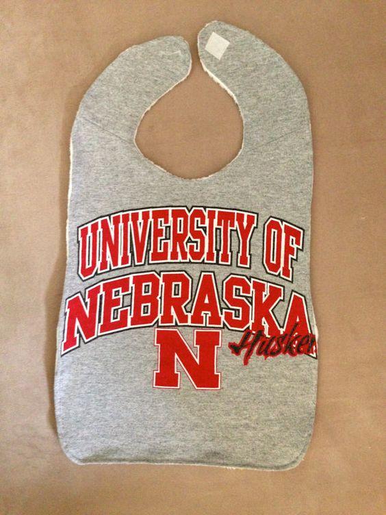 Upcycled TShirt Bib  University of Nebraska Huskers  by MnStyle, $15.00