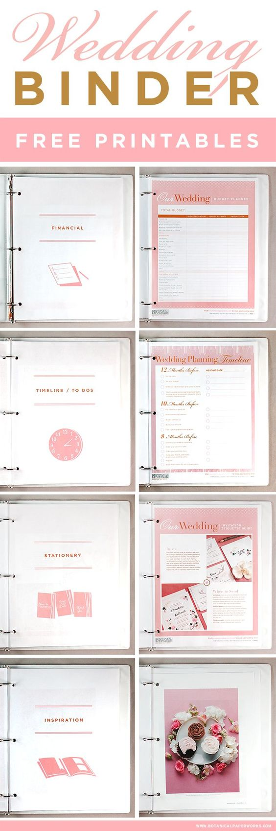 Get access to these FREE printables to help you create the wedding planning binder of your dreams! #freeprintables #freeprintable: