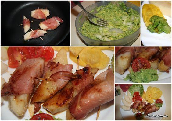 In der Gastrolux-Pfanne wurden die Birnen im Speckmantel ca. 5-6 Minuten in einem TL Öl gebraten und zwischendurch vorsichtig gewendet, damit nichts auseinanderfällt. Angerichtet haben wir mit Salat, Birnenspalten, Avocadocreme und frischen Kartoffelchips aus der Mikrowelle - lecker!!! (das Bild ist vom Mai 2013, zeigt aber den Mikrowellen-Chipsmaker, wir nutzen ihn auch für Apfelchips und Rote Bete-Chips)