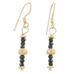 Black Spinel Gemstone and Gold Vermeil Dangle Earrings, #7818