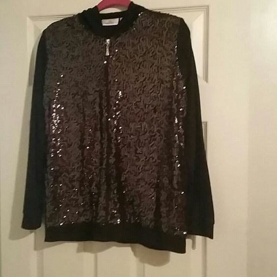 Quaker Factory black bling bling jacket Black bling jacket with Rhinestone zipper & hood. only worn once. Quaker Factory Jackets & Coats