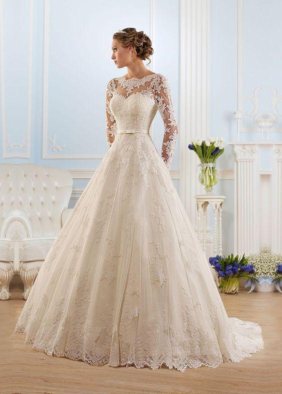 Vestido+de+novia+Corte+princesa+Espalda+medio+descubierto+Encaje+Natural