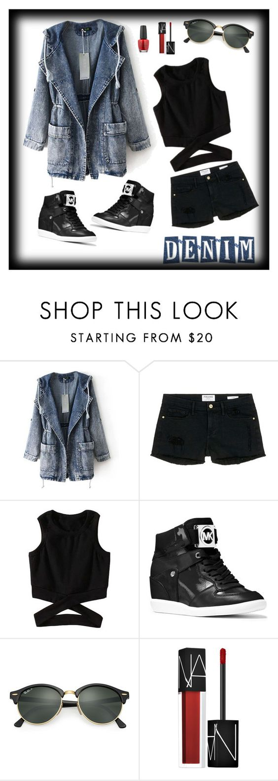 """""""Hanging out'"""" by sensiiii ❤ liked on Polyvore featuring Frame Denim, MICHAEL Michael Kors, Ray-Ban, NARS Cosmetics and OPI"""