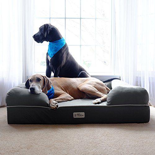 Large Grey Plush Solid Pattern Dog Bed Beautiful Modern Design Pet